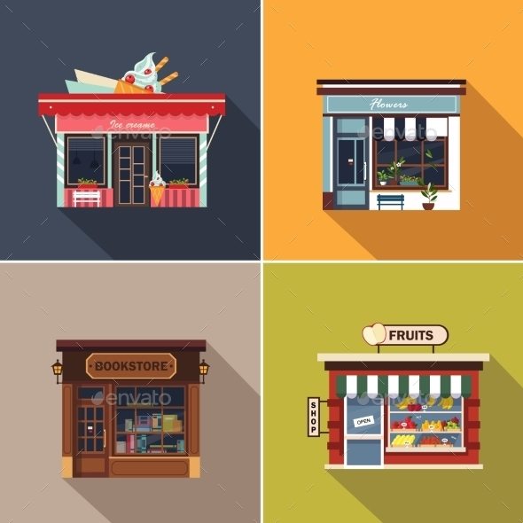 Stores and Shop Facades - Buildings Objects