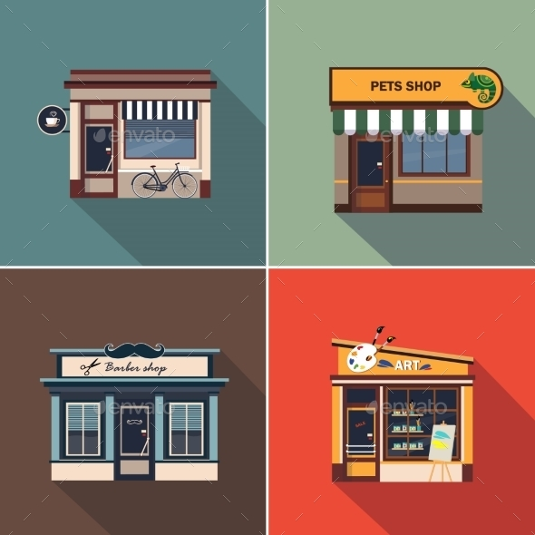 Stores And Shop Facades. Colourful Vector - Buildings Objects