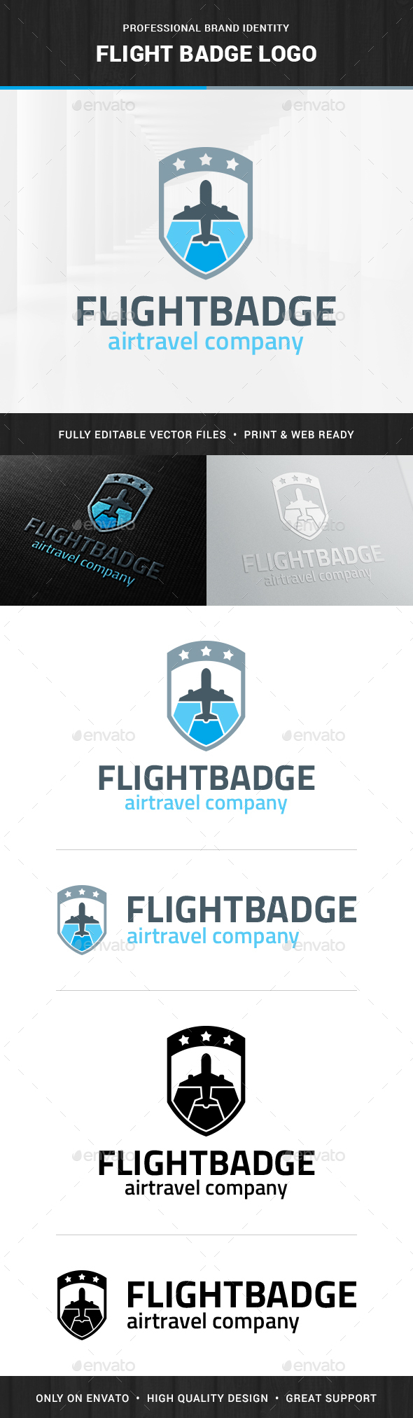 Flight Badge Logo Template - Objects Logo Templates