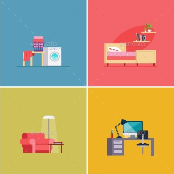 Interior Design Rooms. Vector Illustration Set - Computers Technology