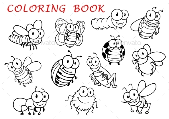 Isolated Outline Insect Animals Characters - Animals Characters