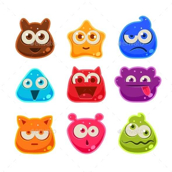 Colourful Jelly Characters with Emotions - Monsters Characters