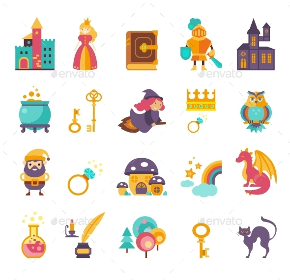 Collection Of Vector Fairy Tale Elements, Icons  - Miscellaneous Characters