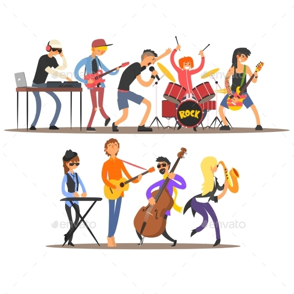Musicians And Mucical Instruments. Vector - People Characters
