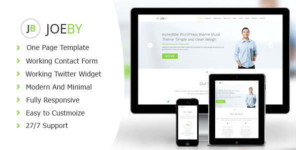 Joeby - Clean One Page Business Template - Corporate Site Templates