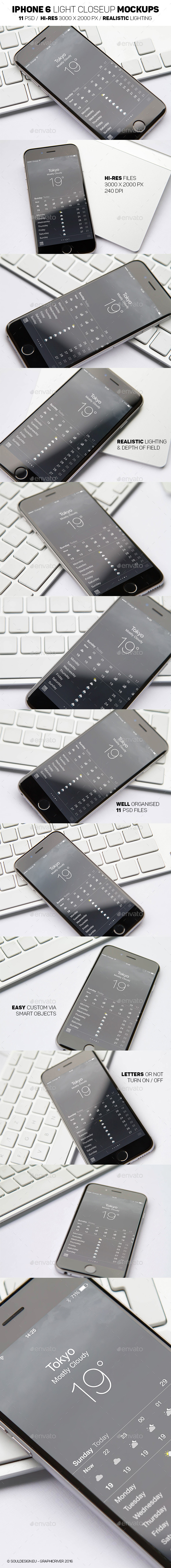 iPhone 6 Light Mockups - Mobile Displays