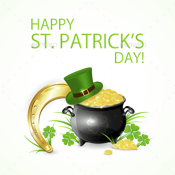 Horseshoe with Gold and Leprechaun Hat - Miscellaneous Seasons/Holidays