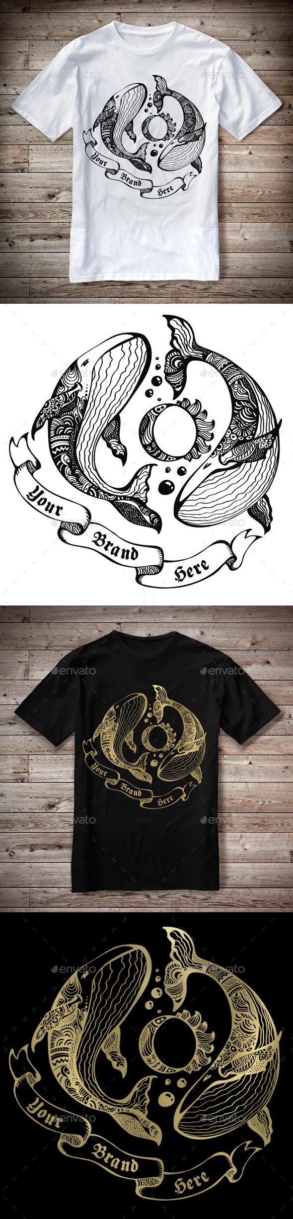 T-Shirt Illustration Whales Theme - T-Shirts
