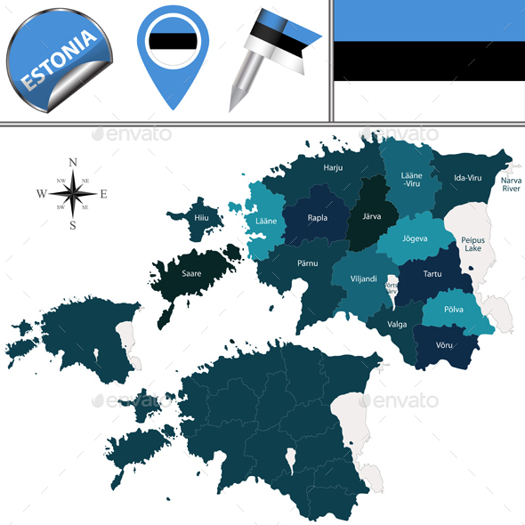 Map of Estonia with Named Counties - Travel Conceptual