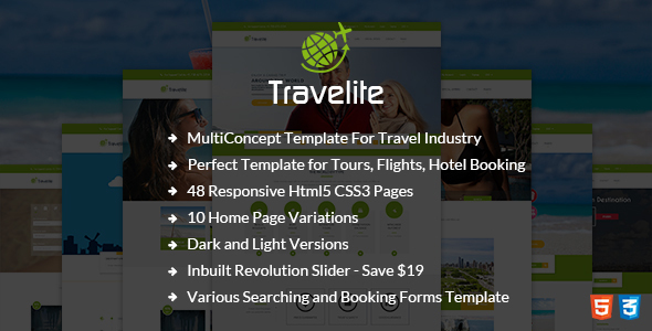 Travelite – Tours and Travels Booking HTML5 Template