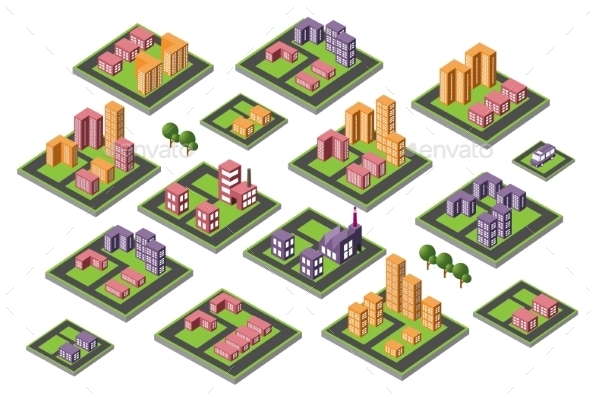 Set of Icons Isometric House - Buildings Objects
