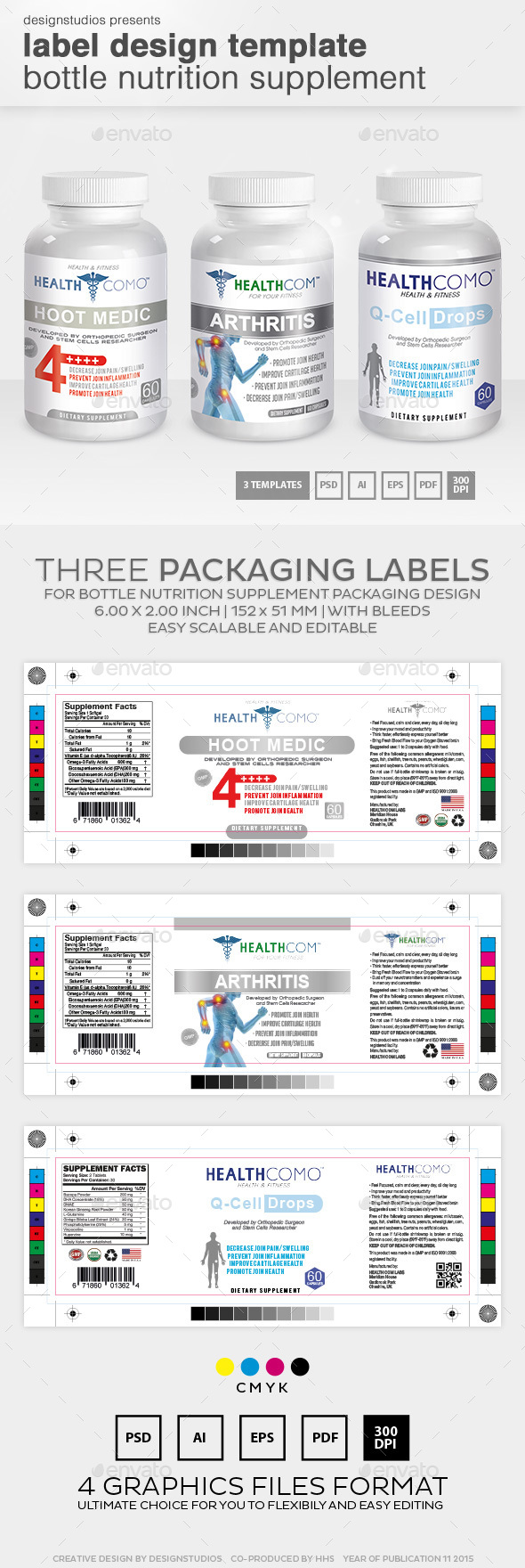 Label Design Template Bottle Nutrition Supplement by designstudios – Packing Label Template