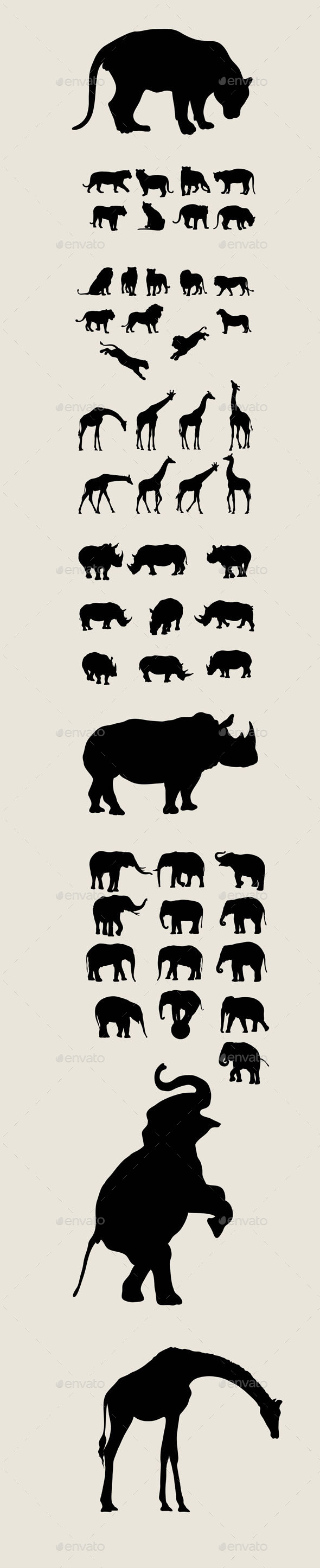 African Animal Silhouettes - Animals Characters