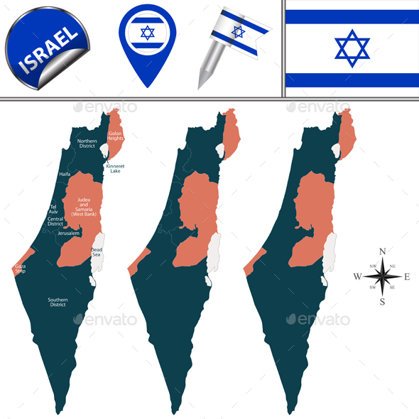 Map of Israel with Named Districts - Travel Conceptual