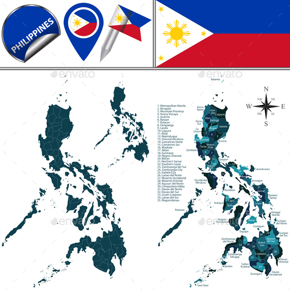 Map of Philippines with Named Regions - Travel Conceptual