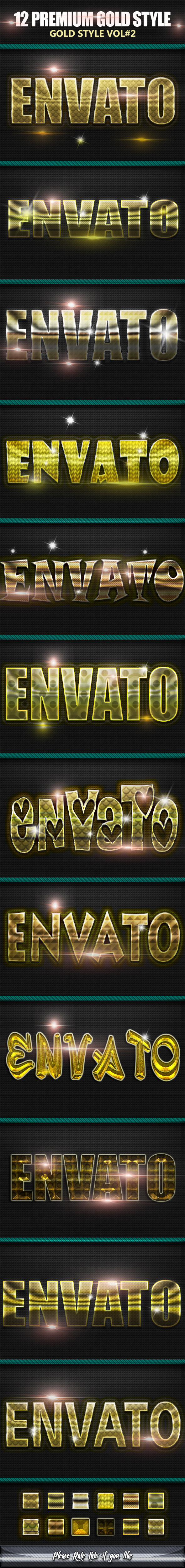 12 Gold Styles Text Photoshop vol6 - Text Effects Styles