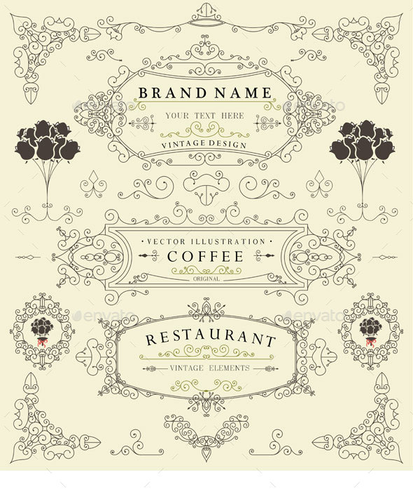 Decorative Thin Retro Elements Vintage Design - Borders Decorative