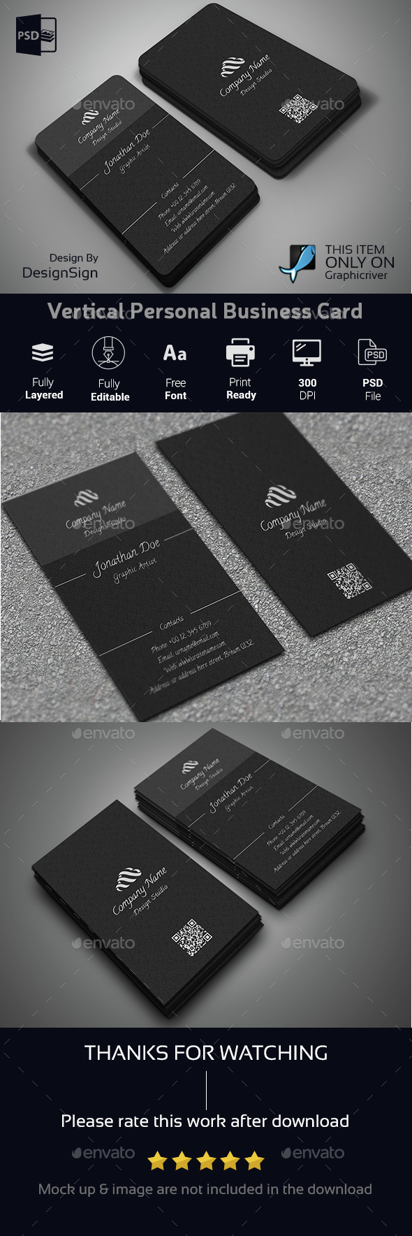 Vertical Personal Business Card - Corporate Business Cards