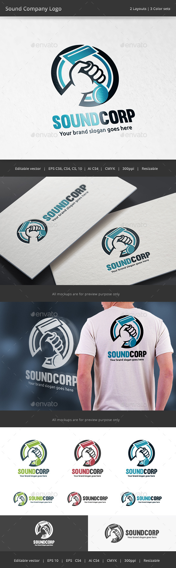 Note in Hand Sound Logo - Vector Abstract