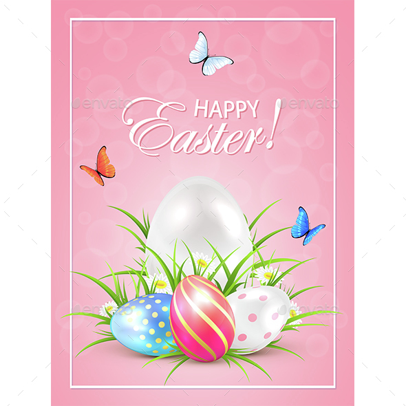 Easter Eggs in Grass and Butterflies on Pink Background - Miscellaneous Seasons/Holidays