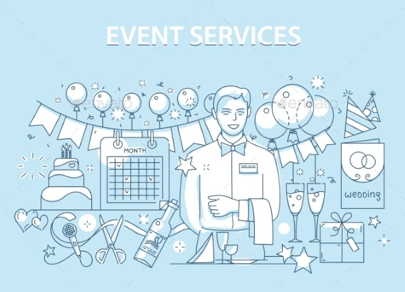 Line Style Design Concept of Special Event Service - Birthdays Seasons/Holidays