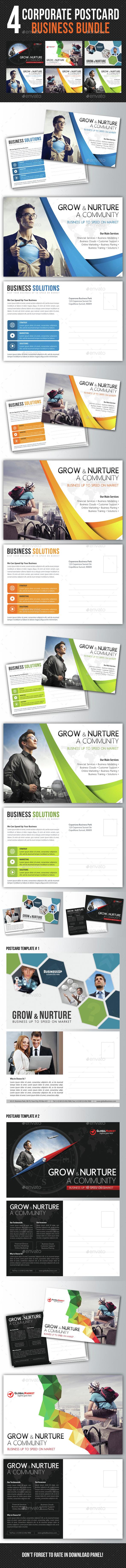 4 in 1 Corporate Business Postcard Bundle V03 - Cards & Invites Print Templates