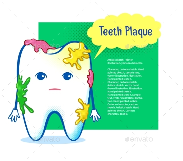 Tooth Character with Plaque - Health/Medicine Conceptual