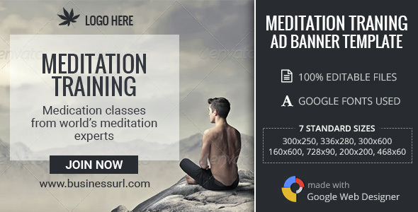 GWD | Meditation Training HTML5 Banners - 07 Sizes - CodeCanyon Item for Sale