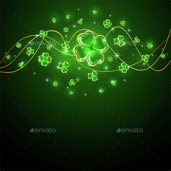 Shiny Clover Leaves on Patricks Day Background - Miscellaneous Seasons/Holidays