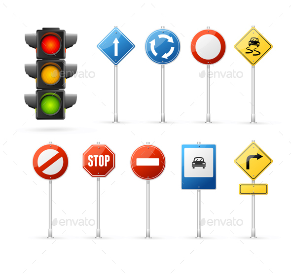 Traffic Light and Road Sign Set. Vector - Objects Vectors