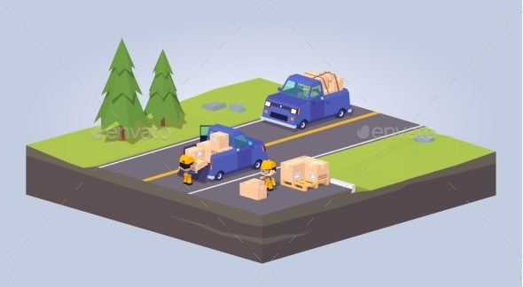 Two Blue Pickup Trucks - Travel Conceptual