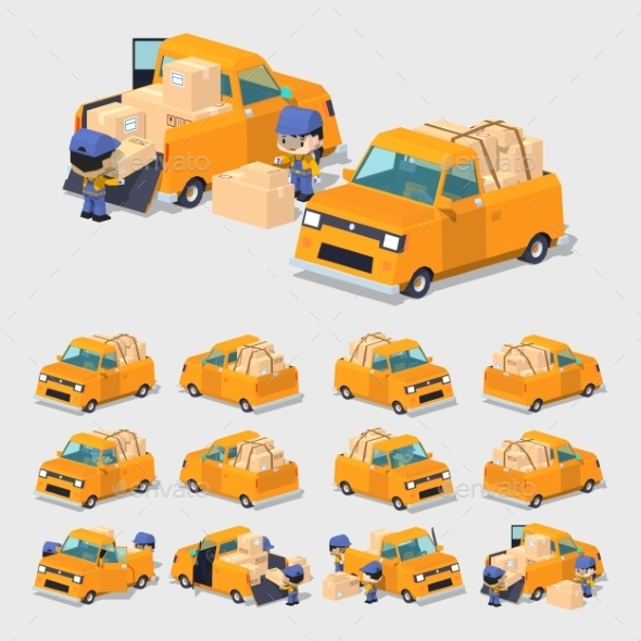 Orange Pickup Truck - Man-made Objects Objects