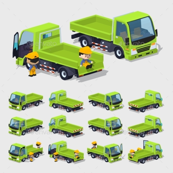 Empty Green Truck - Man-made Objects Objects