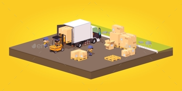 Loading or Unloading Boxes - Industries Business