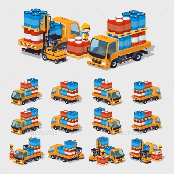 Orange Truck - Man-made Objects Objects