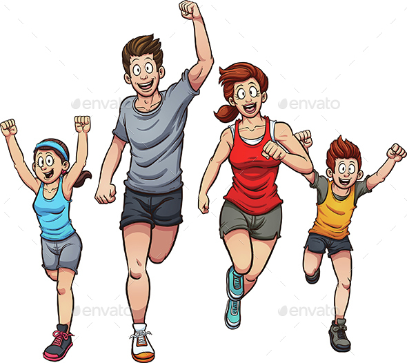Running Family - People Characters