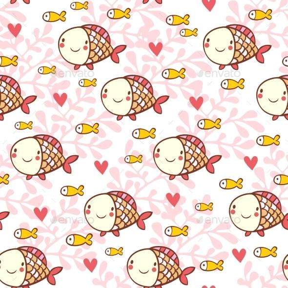 Sweet Childish Seamless Pattern with Fish - Patterns Decorative
