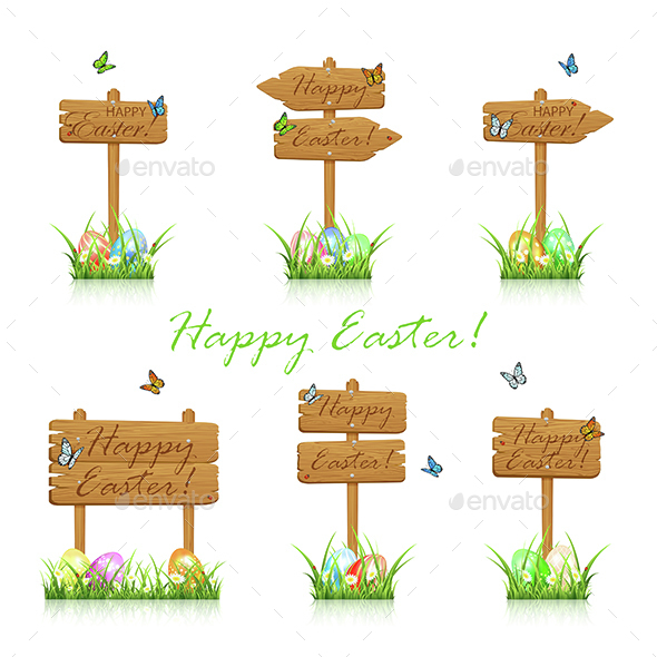 Set of Wooden Easter Signs in Grass - Man-made Objects Objects