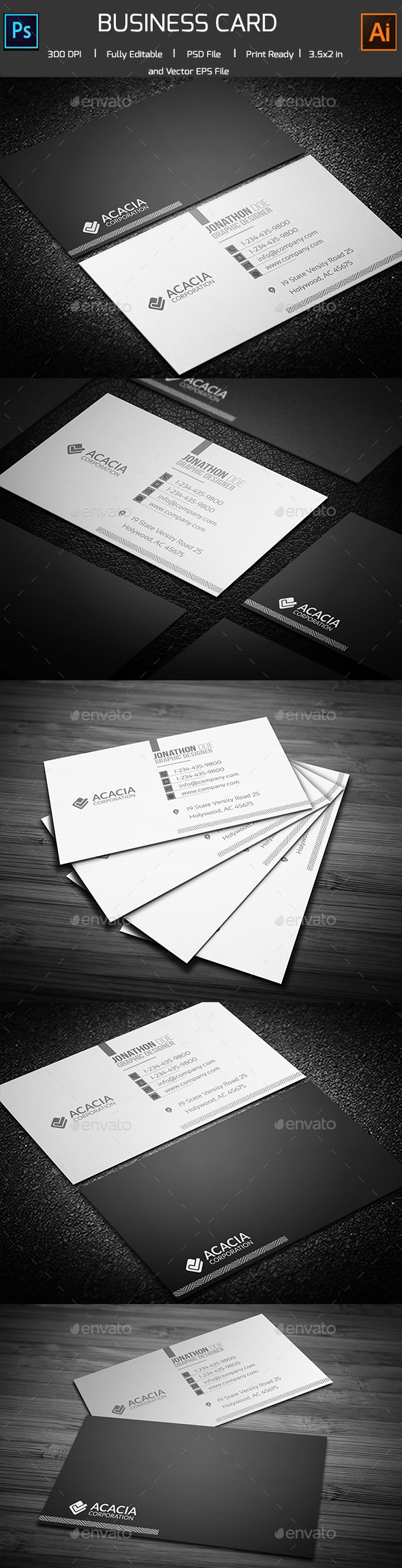 SixDec Simple Business Card - Corporate Business Cards