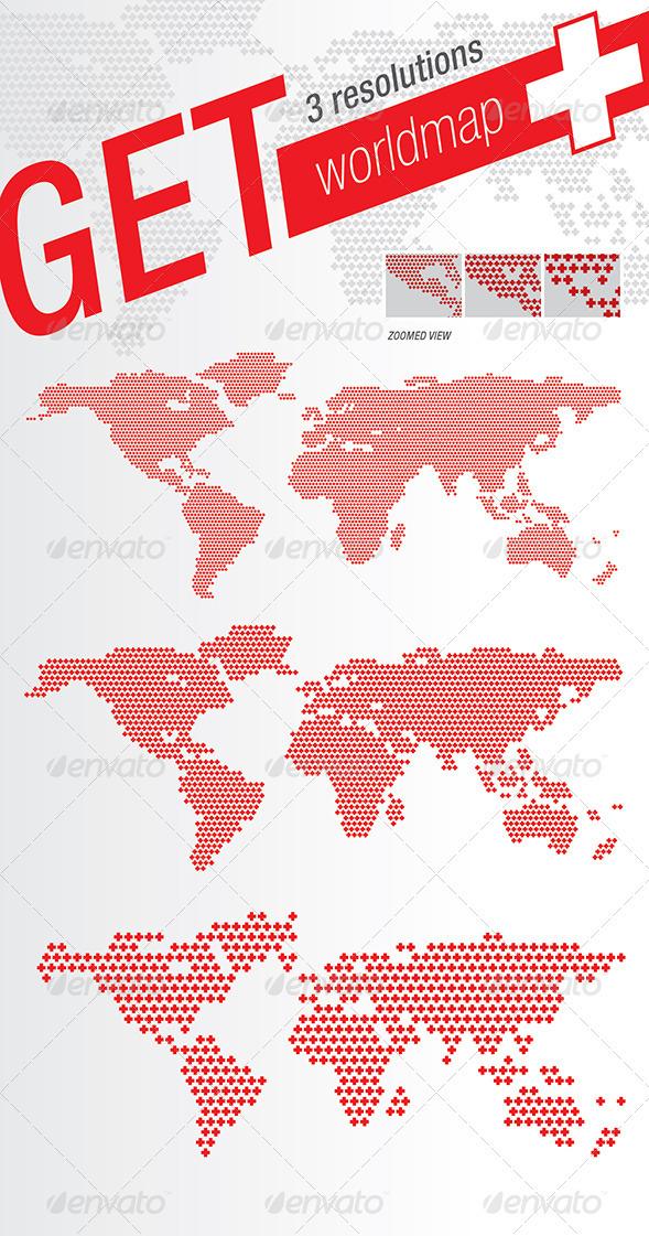 World Map Plus + Crosses - Miscellaneous Vectors