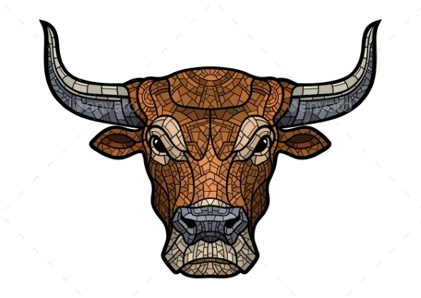 Bull Head Isolated Illustration - Animals Characters