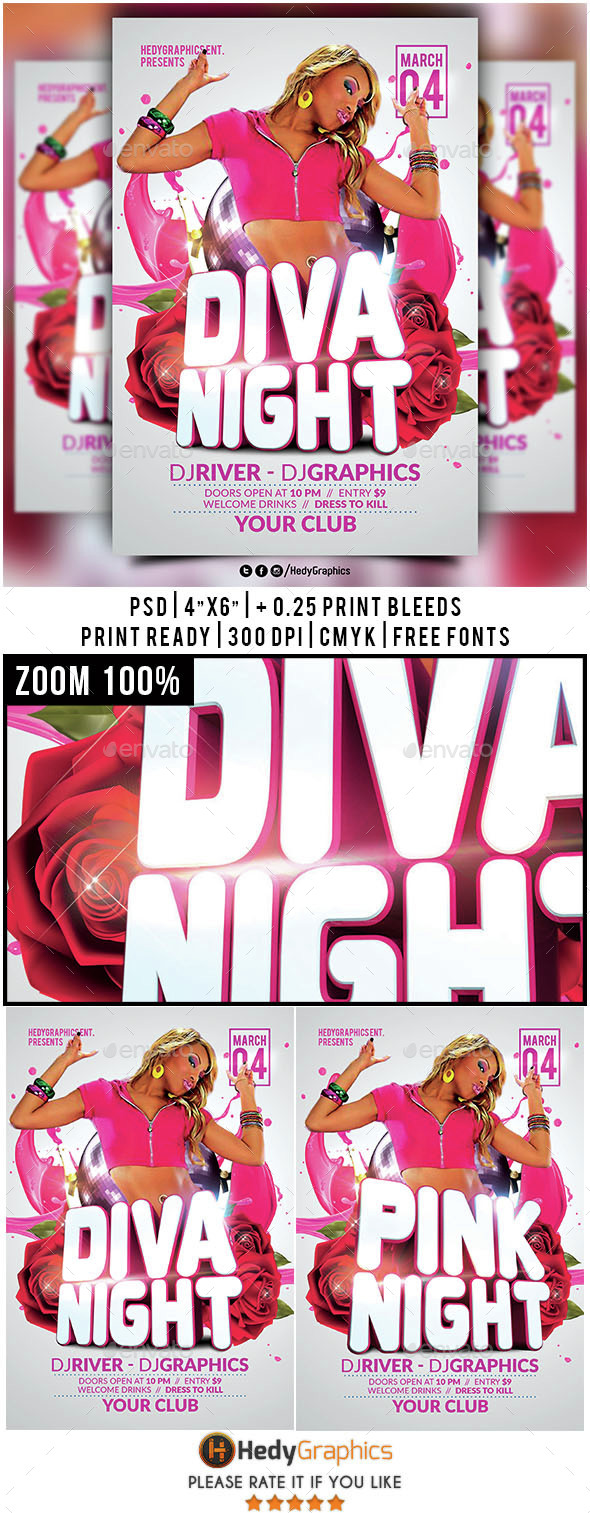 Diva & Pink Night- Flyer Template - Clubs & Parties Events