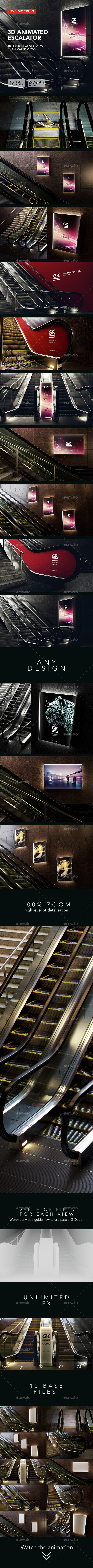 3D Animated Escalator / Lightbox Mockup - Miscellaneous Print