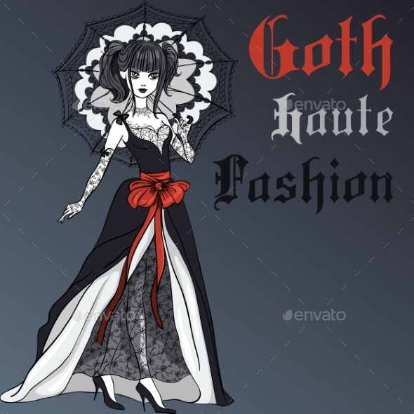 Goth Girl in Black Dress with Umbrella - People Characters