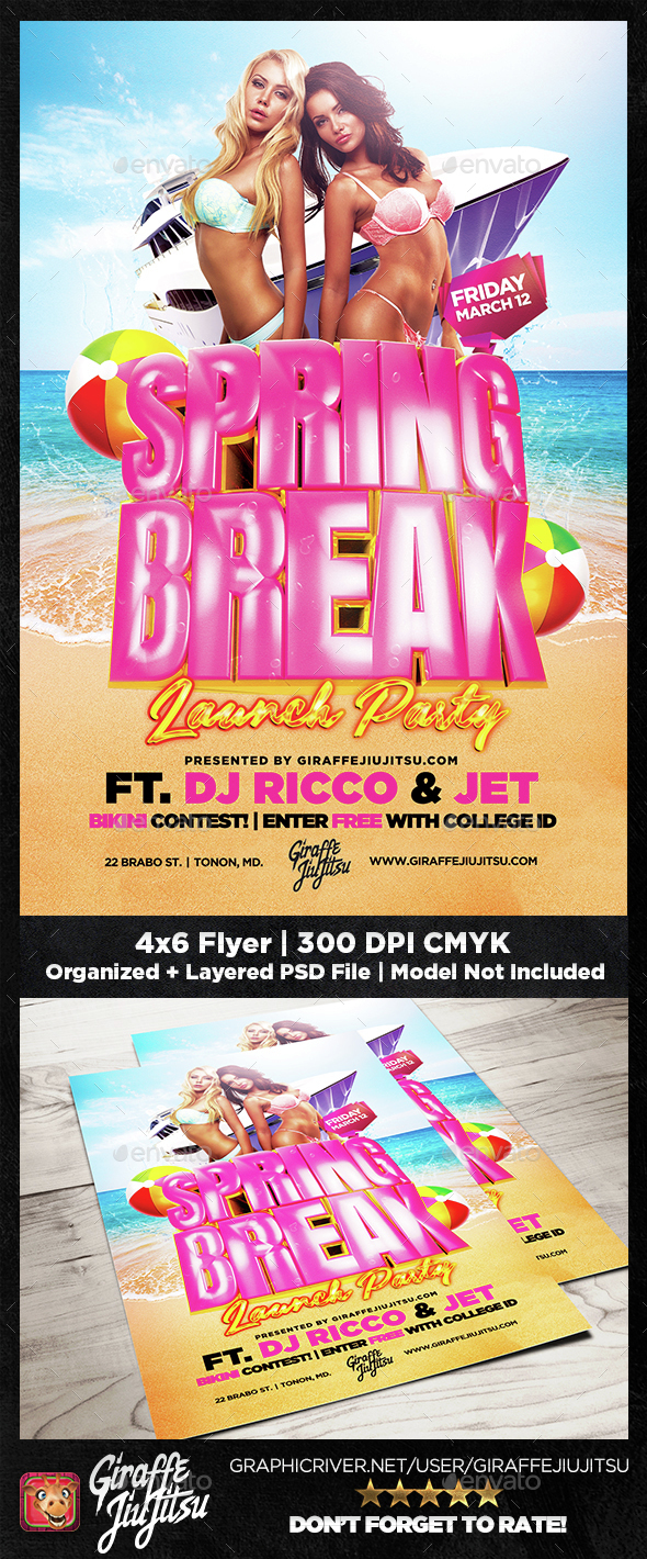 Spring Break Launch Party Flyer Template - Clubs & Parties Events