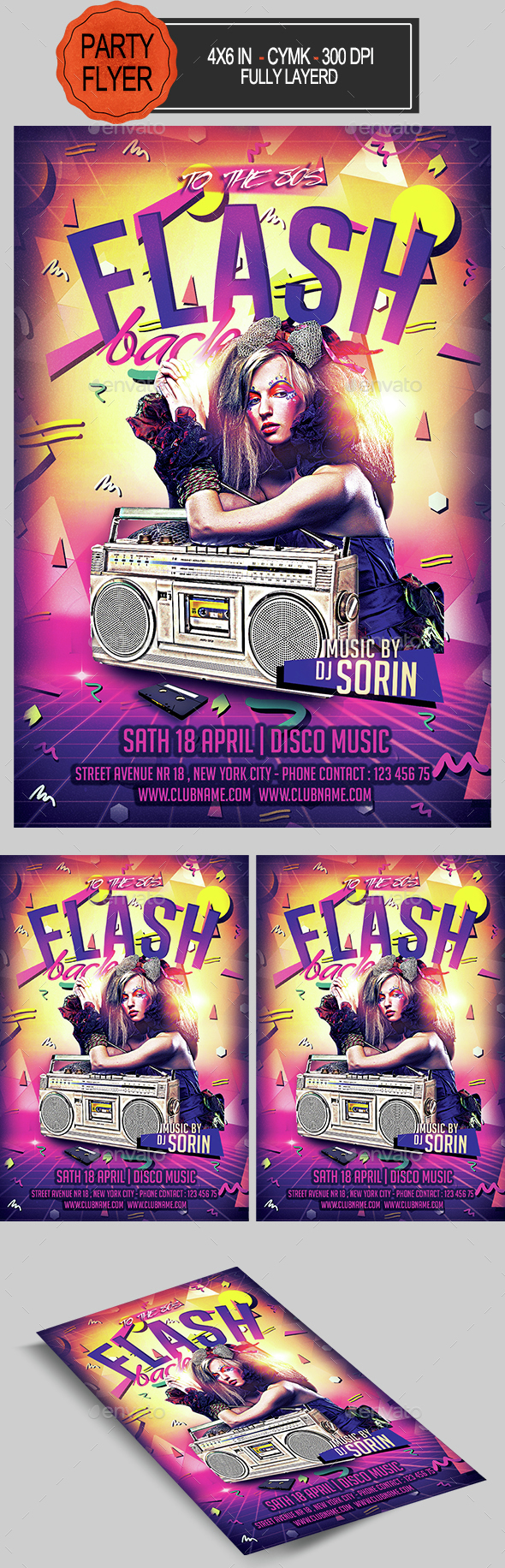 Flash Back 80s Flyer - Clubs & Parties Events