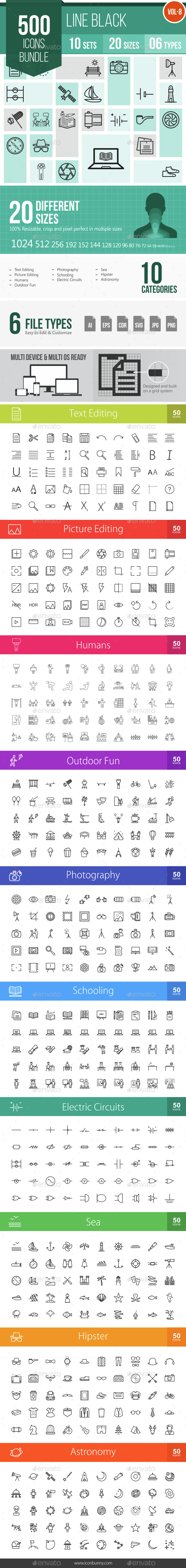 500 Vector Line Icons Bundle (Vol-8) - Icons