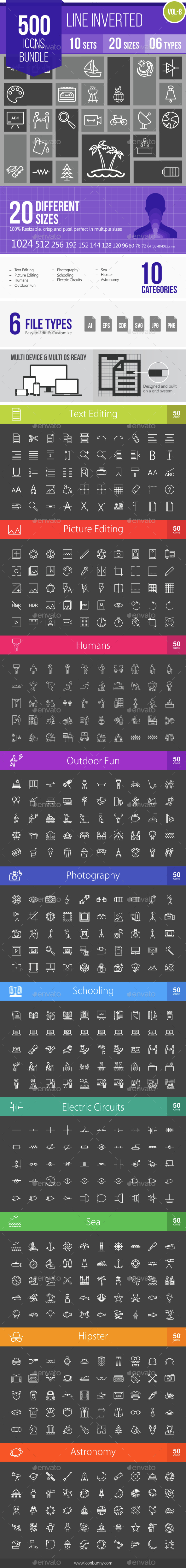500 Vector Inverted Line Icons Bundle (Vol-8) - Icons