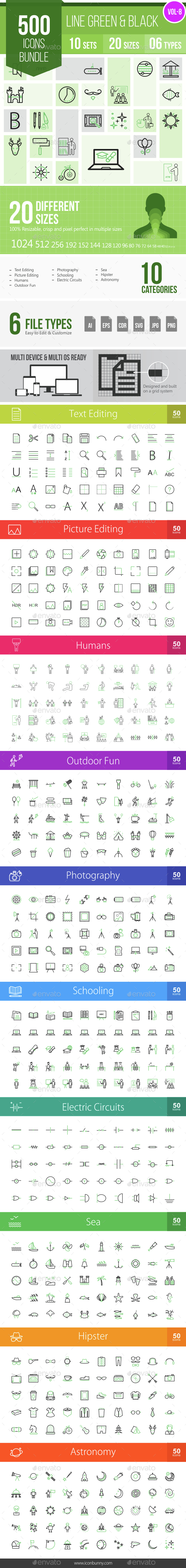 500 Vector Green & Black Line Icons Bundle (Vol-8) - Icons