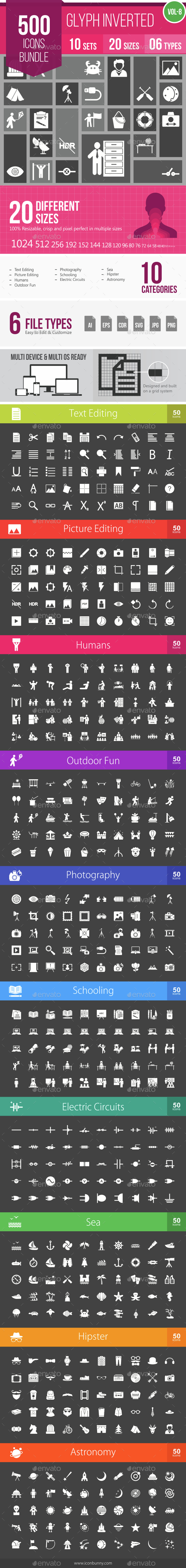 500 Vector Inverted Glyph Icons Bundle (Vol-8) - Icons